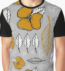 Flowers and leaves. Mustard yellow color on gray background. Graphic T-Shirt