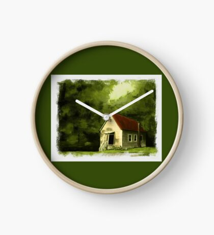 COUNTRY CHURCH, Pastel Painting, with Custom Edging, for prints and products Clock