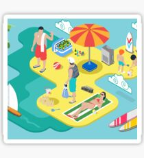 Isometric Beach Life - Summer Holidays Concept  Sticker