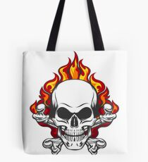 Skull in Flame Tote Bag
