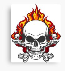 Skull in Flame Canvas Print