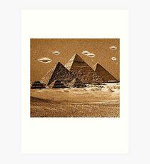 Pyramids UFO Aliens Art Print