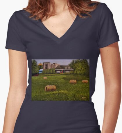 A LITTLE BIT OF COUNTRY, Acrylic Painting, for prints and products Women's Fitted V-Neck T-Shirt