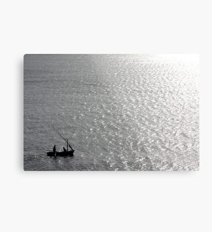 Little Us In Our Little Boat On A Big Sea Metal Print