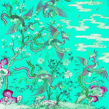 Five Phoenixes in The Garden ,Chinese Imperial Green Teal Blue Pink Purple Floral Tapestry by BulganLumini