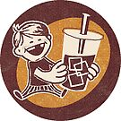 Ice-brewed dude - Kid with Coffee Drink - Sticker by Ben Walker Storey