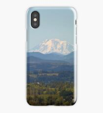 Snow covered Mount Adams in Washington State on a clear blue sky day iPhone Case