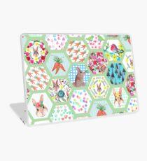 Spring Rabbit Floral Patchwork hexagons Laptop Skin