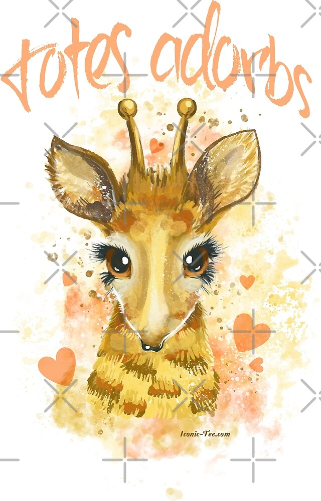 Totes Adorbs! Watercolor Baby Giraffe by IconicTee
