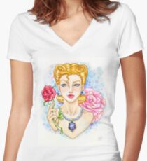 50's Woman Women's Fitted V-Neck T-Shirt