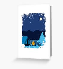 Camping Tent in Moonlight with Campfire Greeting Card