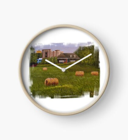 A LITTLE BIT OF COUNTRY, Acrylic Painting, with Custom Edging... prints and products Clock