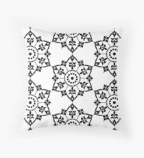 Ethnic Floral Kaleidoscope Pattern in Black and White Floor Pillow