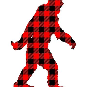 Buffalo Check Red and Black Plaid Lumberjack Sasquatch Bigfoot Silhouette Canadiana Style by Garaga