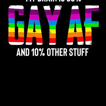 90% GAY AF Design LGBTQ Pride Rainbow Flag by JannikGHG