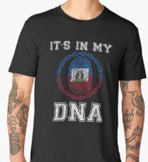 Haiti Its In My Dna Gift For Haitian From Haiti - DNA Strand and Thumbprint With Haiti Flag Men's Premium T-Shirt
