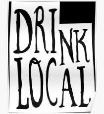 Drink Local Utah State Outline Craft Beer Poster