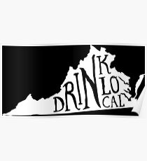 Drink Local Virginia State Outline Craft Beer Poster