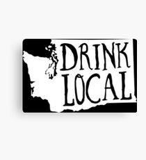 Drink Local Washington State Outline Craft Beer Canvas Print