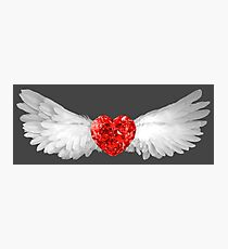 Red Ruby Heart Gem with White Wings Photographic Print