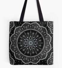 Black White Blue Mandala Design Tote Bag