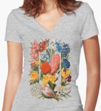 Viktorianisches Blumen-Kasten-Weinlese-Einklebebuch-Blumen mit Tulpen, Narzissen, Krokus, Freesie und mehr Tailliertes T-Shirt mit V-Ausschnitt