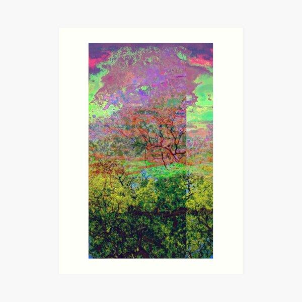 Leafy Treetop Glitch Art Art Print