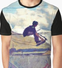Graffitti Glide Stunt Scooter Sports Artwork  Graphic T-Shirt