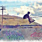 Graffitti Glide Stunt Scooter Sports Artwork  by Skye Ryan-Evans