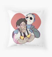 Leatherface <3 Jason Throw Pillow
