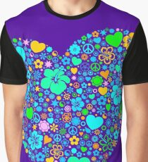Heart flowers flowers Peace Sign Yin and Yang Graphic T-Shirt