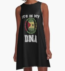 Sao Tome And Principe Its In My Dna Gift For Sao Tomean From Sao Tome And Principe - DNA Strand and Thumbprint With Sao Tome And Principe Flag A-Line Dress