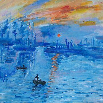 Impression, Sunrise Monet painting Soleil Levan by schiabor