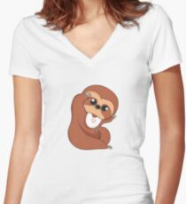 Baby Sloth Women's Fitted V-Neck T-Shirt