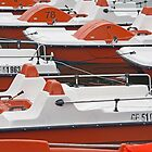 Motorboat Abstract in White And Orange by Alexandra Lavizzari
