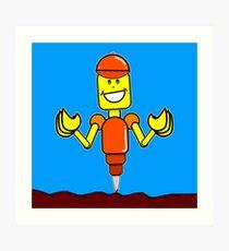 Doug The Digger Robot Art Print