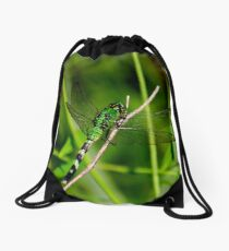 Green Dragonfly Drawstring Bag