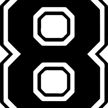 Varsity Black Number 8 Single | Black and white eight number by igorsin