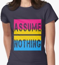 Pansexual Pride Flag Assume Nothing Pan Awareness Women's Fitted T-Shirt