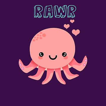 Cute Kawaii Baby Octopus Rawr Pink by Shrijit