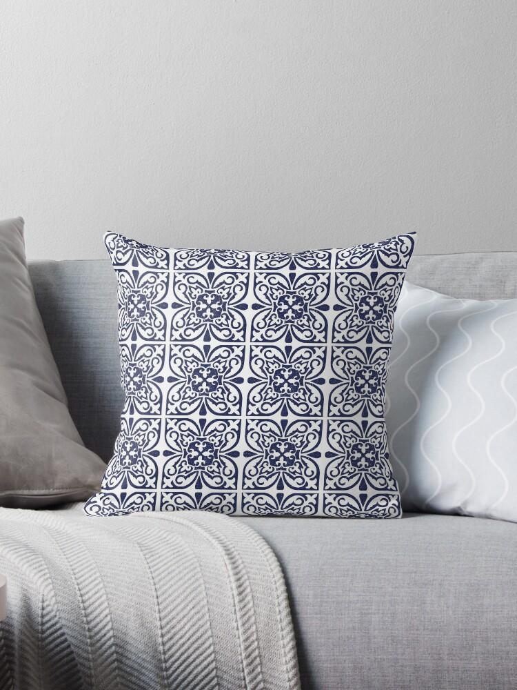 Indigo Navy Blue White Moroccan Trellis Lattice Pattern Throw