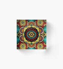 Retro Flower Power on Rusted Red Acrylic Block