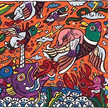 Mallard ducks with elephant by nokhookdesign