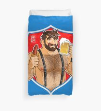 ADAM LIKES SAUSAGE AND BEER - RED BACKGROUND Duvet Cover