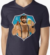 ADAM LIKES SAUSAGE AND BEER - BLUE BACKGROUND Men's V-Neck T-Shirt