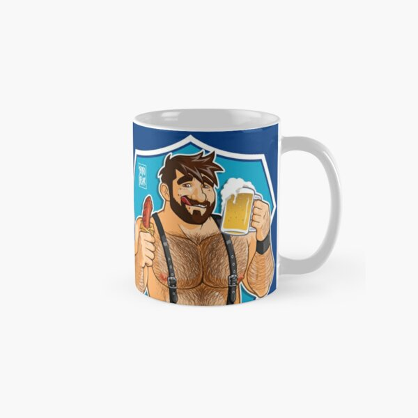 ADAM LIKES SAUSAGE AND BEER - BLUE BACKGROUND Classic Mug