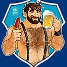 ADAM LIKES SAUSAGE AND BEER - BLUE BACKGROUND by bobobear