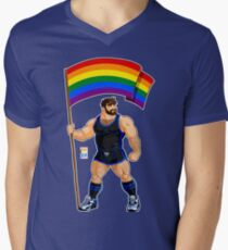 ADAM LIKES PRIDE FLAG - BLACK OUTFIT Men's V-Neck T-Shirt
