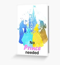 No Prince Needed Inspired Silhouette Greeting Card