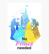 No Prince Needed Inspired Silhouette Photographic Print